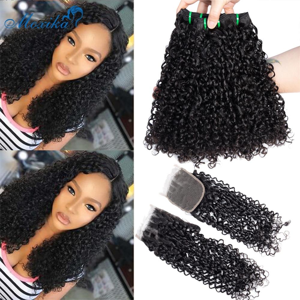 Moxika Fumi Hair Weave Pixie rizos mechones con cierre doble trama Remy Indian Pissy rizos mechones de cabello humano con cierre