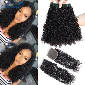 Moxika Fumi Hair Weave Pixie Curls Bundles With Closure Double Weft Remy Indian Pissy Curls Human Hair Bundles With Closure(China)
