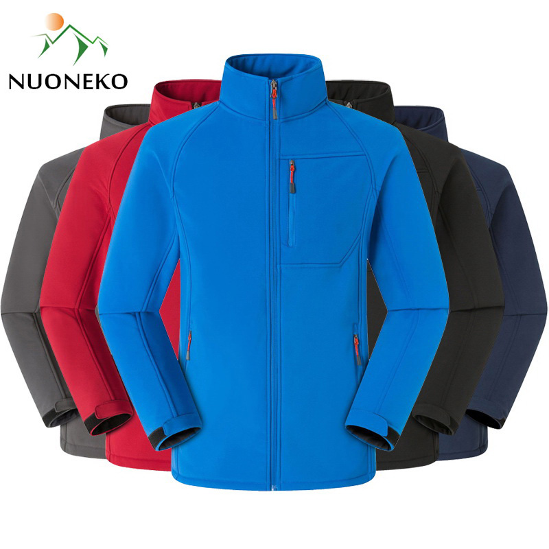 NUONEKO Men Women Softshell Fleece Hiking Jackets Autumn Outdoor Waterproof Jacket Trekking Climbing Camping Male Warm Coat JM11