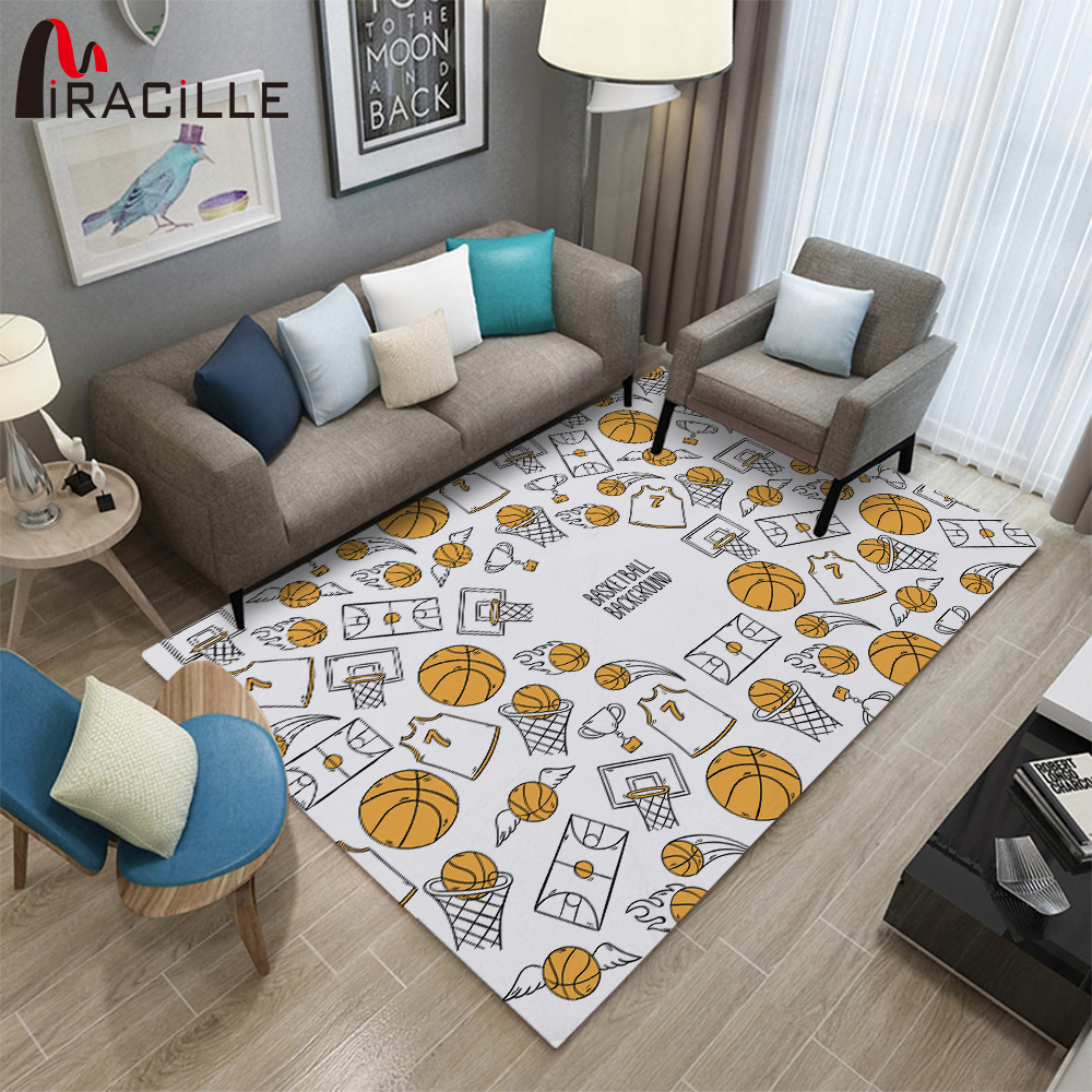 Miracille Basketball Rectangle Carpet Children Play Bed Room Decoration Mat Anti-slip Flannel Bedside Area Rug Parlor Livingroom