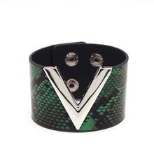 D& D ручной модный кожаный браслет простой Универсальный MS OL V слово широкий для женщин обёрточная Бумага браслет