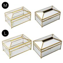 European Creative Glass Tissue Box Simple Living Room Household Tissue Box Nordic Luxury Light Luxury Napkin Tray 1 set christmas top grade gift acrylic tissue box black square creative waterproof simple european napkin holder car tissue box