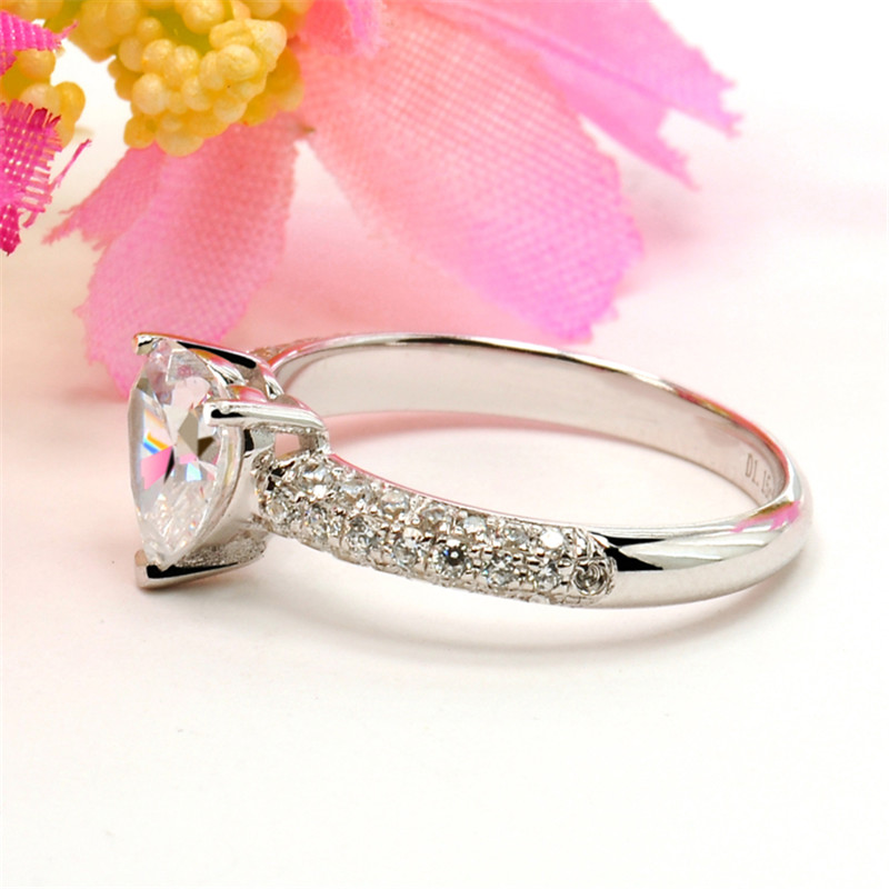 Heart Rings For Women Bridal Wedding Fashion Jewelry Engagement Ring Cubic Zirconia Elegant Anel Bijoux Femme CC048 3