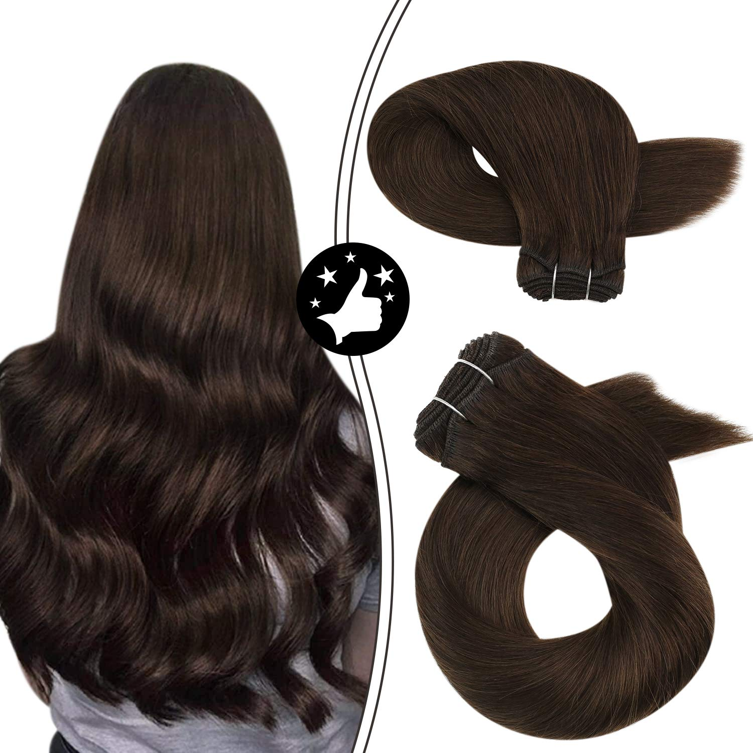 Sew in Extensions Human Hair 100G/Set Natural Straight Weft Colored #4 Dark Brown Machine Remy Brazilian Hair Bundles