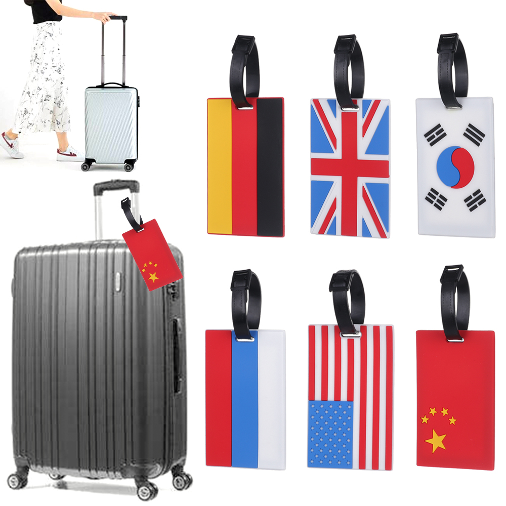 1Pcs New National Flag Luggage Tag PVC ID Address Holder Baggage Label Travel Accessories Bag Portable Travel Tags For Suitcase