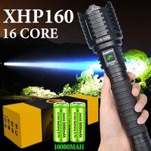 XHP160 Most Powerful Flashlight 16-core Light Brightest XHP90 Lantern 10000MAH Self-defense Hand Torch Tactical Hunting Torch