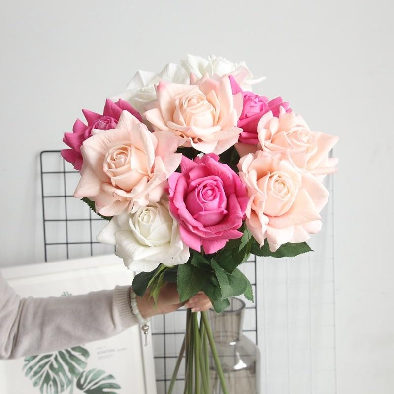 5 шт., 12 см, искусственный цветок из латекса с большими розами для украшения дома, свадьбы, вечеринки, украшения для стола, искусственные цвет...