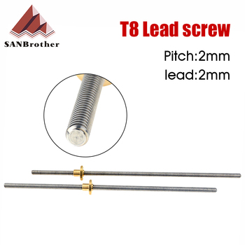3D Printer T8 Lead Screw OD 8mm Pitch 2mm Lead 2mm 200mm 250mm 300mm 350mm 400mm 450mm 500mm With Nut For Reprap image