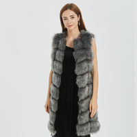 CP Faux Fur Factory Fox Faux Fur Vest Women Winter Warm Fox Artifical Fur Waistcoat Middle Long Coat Ladies Faux Furs Vest CP05