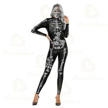 Женское сексуальное боди со скелетом для косплея костюм Хэллоуина