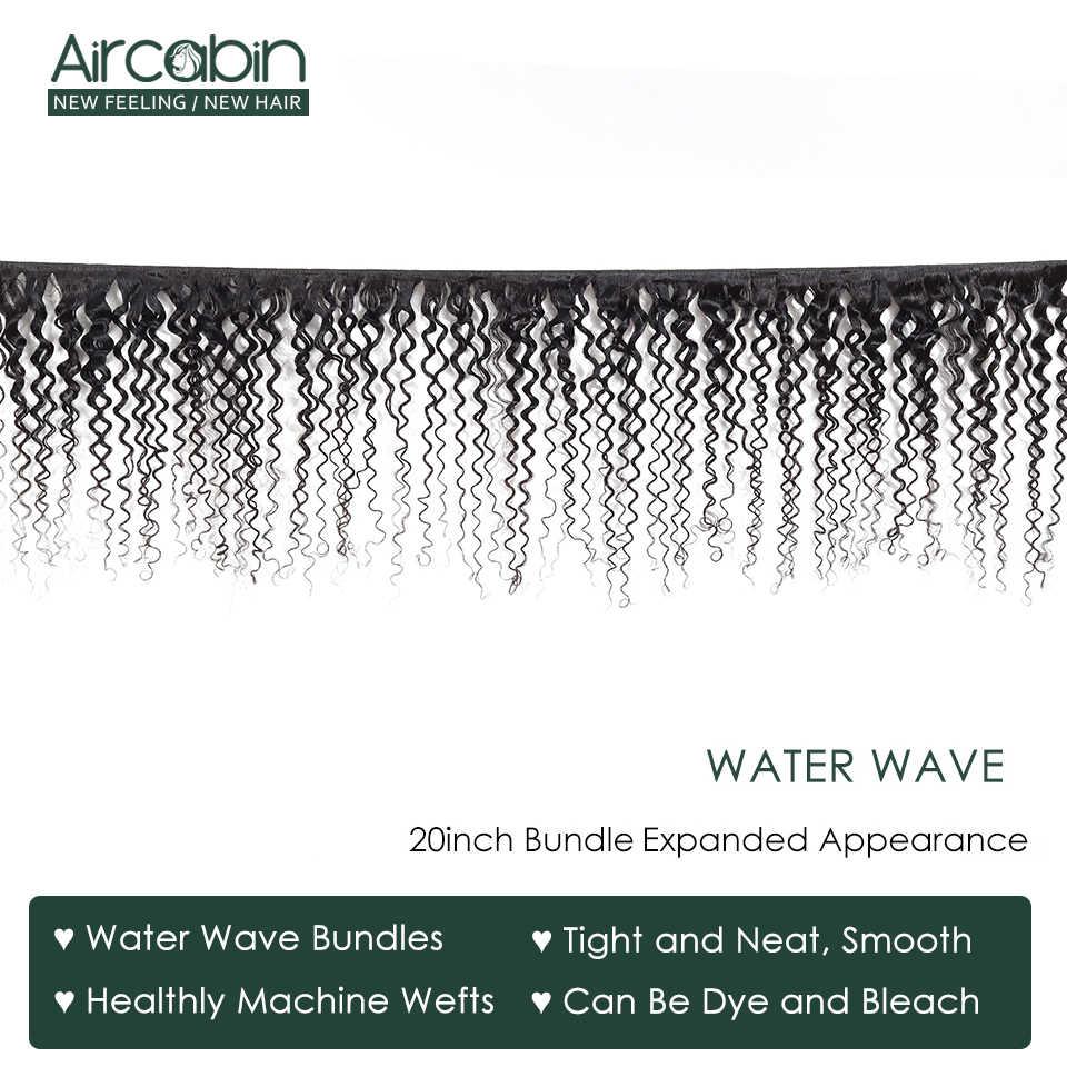 Aircabin Water Wave 1/3/4 Bundels Braziliaanse 100% Remy Human Hair Extensions Dubbele Inslag Weave Natual Kleur 8-26 Inch Bundels