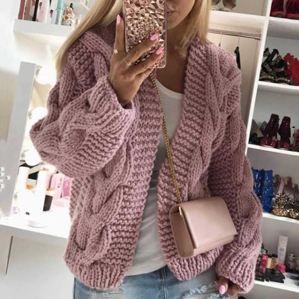 MoneRffi Womens Open Front Chunky Cardigan Sweaters Long Sleeve Knit Warm Loose Coat