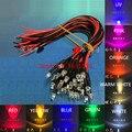 Предварительно проводной светодиодный диодный светильник, 20 шт., 3 мм, 5 мм, 3 в, 6 в, 12 В, 24 В, 20 см, белый, красный, зеленый, синий, желтый, УФ, RGB