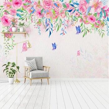 Custom Wallpaper Romantic Hand Painted Pink Flower Butterfly 3D Mural Bedroom Living Room Sofa TV Background Papel De Parede