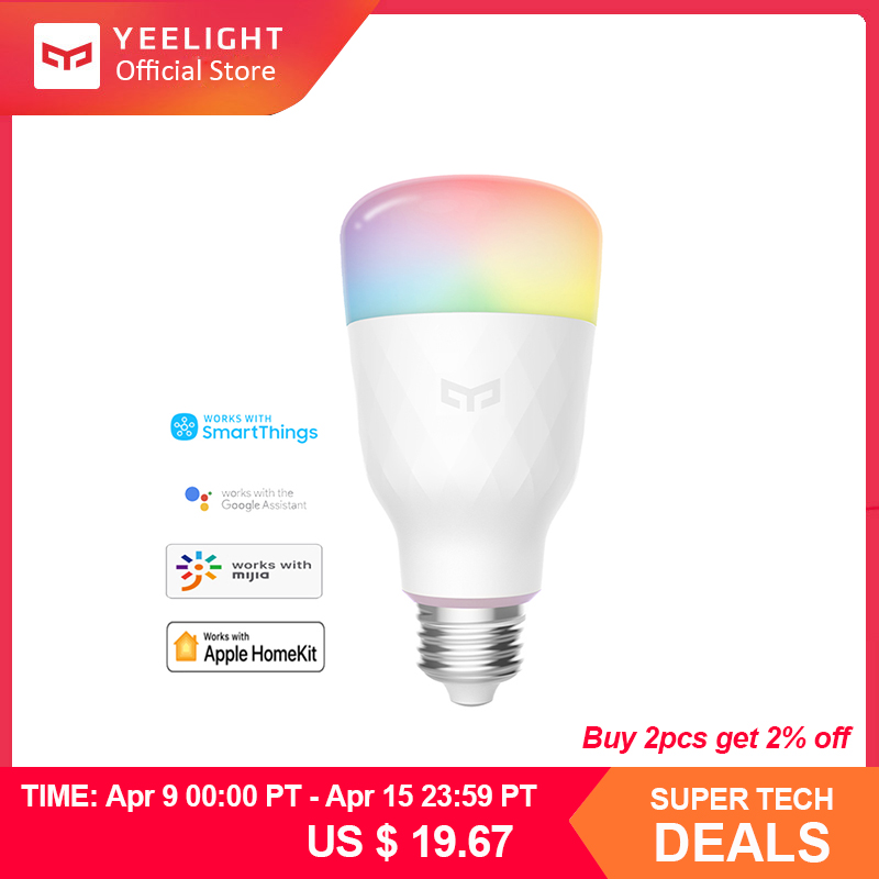 Yeelight Smart LED Bulb 1S YLDP13YL 8.5W RBGW Work With Mijia Homekit AC100-240V 1700K-6500K E27 800lm Desk Floor Table Lamp