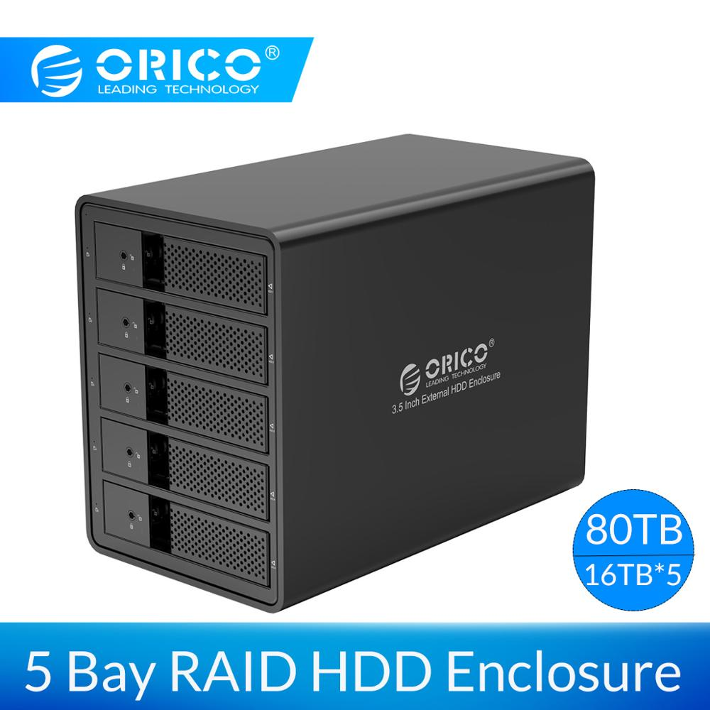 ORICO 3.5'' 5 Bay HDD Docking Station USB3.0 To SATA With RAID Aluminum HDD Enclosure 150W Internal Power Adapter HDD Case