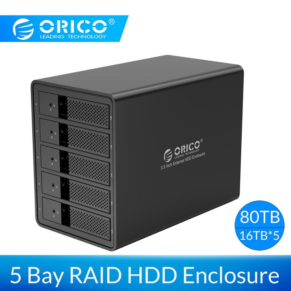 ORICO 3.5'' 5 Bay HDD Docking Station USB3.0 To SATA With RAID Aluminum HDD Enclosure 150W Internal Power Adapter HDD Case