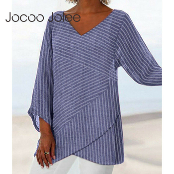 Jocoo Jolee Spring Plus Size Striped Long Sleeve V Neck Linen Baggy Blouse Shirt Ladies Summer Tunic Tops Casual Loose Shirt 1