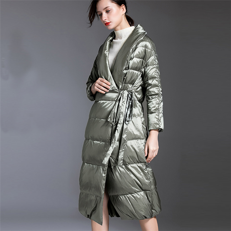 2019 Winter New lapel bright surface Thick super long paragraph white duck   Down   jacket Women High quality Fashion   Down     Coat   W188