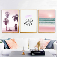 Tropical Palm Tree Canvas Painting Pink Beach Sea Landscape Wall Art Print Painting Nordic Poster Wall Pictures For Living Room