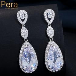 Pera 5 cores escolha senhoras jóias de casamento espumante longo grande gota oscilante zircônia cúbica pedra brincos para noivas e062