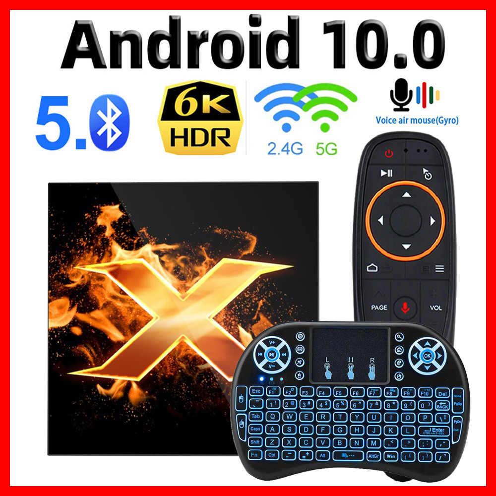 2020 VONTAR X1สมาร์ทAndroid TV Box Android 10 TVbox Max 4GB RAM 64G Dual Wifi 4K 60fps BT5.0 YoutubeชุดPk T95 H96 MAX