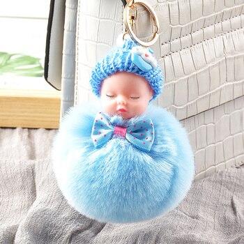 Cute Plush Keychain Sleeping Baby Doll Kpop Accessories Pompom Keyring Toys For Girls Kawaii Bag Pendant