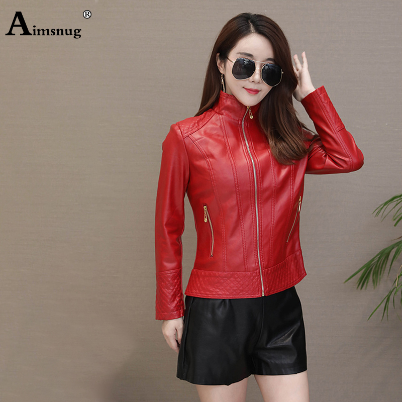 Plus Size 5xl Faux Pu Leather Jacket Women Red Autumn Outerwear Pockets Zipper Office Lady Coat Slim Elastic Ladies Biker Jacket