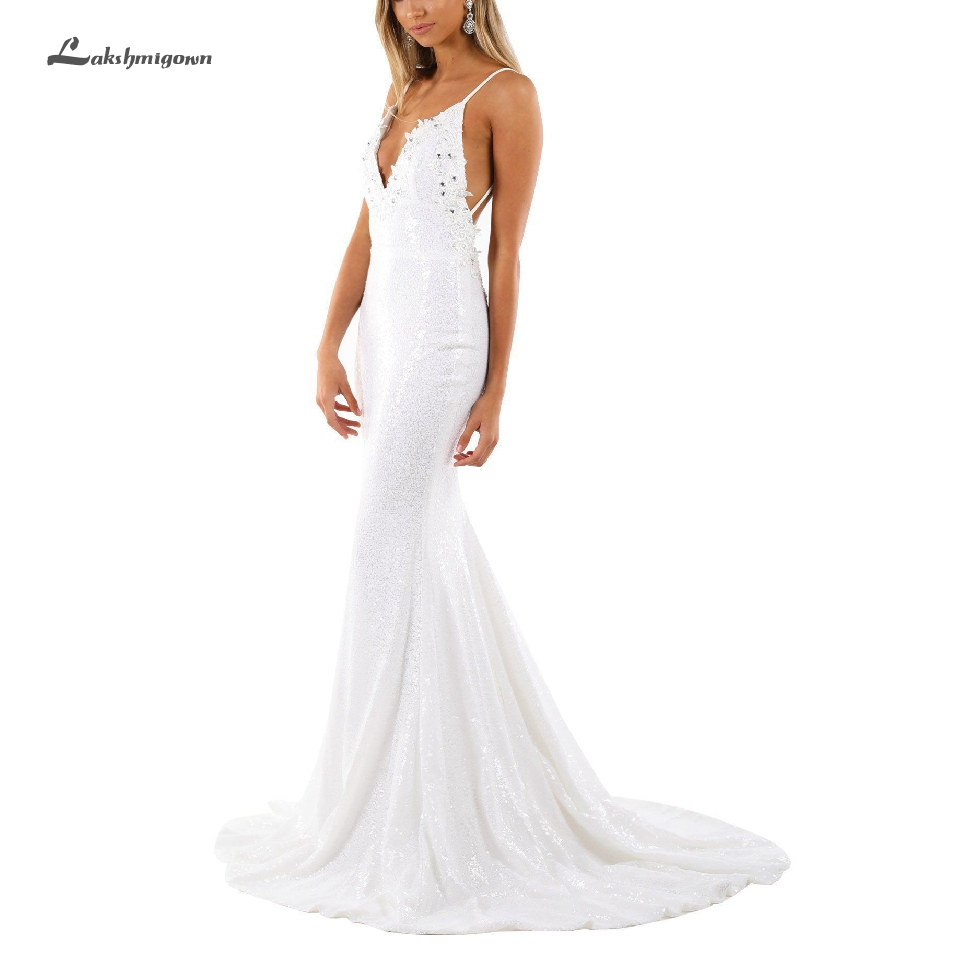 Lakshmigown Sparkly Sequin Mermaid Wedding Dress V Neck 2020 New Design Bridal Dresses Beach Boho Wedding Party Spaghetti Straps