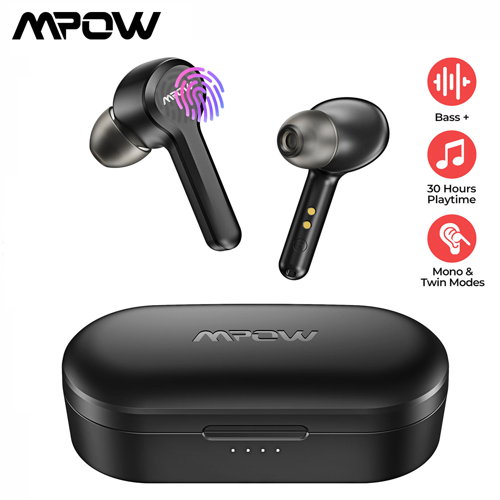 MPOW <font><b>M9</b></font> In-ear Wireless Earbuds Bluetooth 5.0 Stereo IPX7 Waterproof Headphones with 30H Playtime for iOS Android Smartphone image
