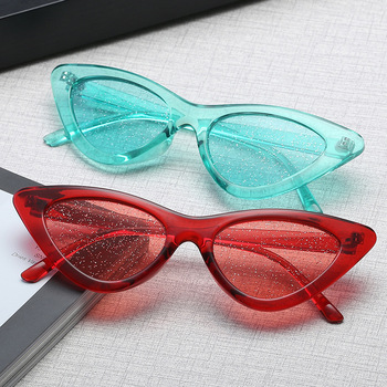 цена на 2020 new Small Sunglasses Women Vintage Cateye Glasses Frame Tint Sexy Shiny Lens Cat eye Glasses Shades uv400