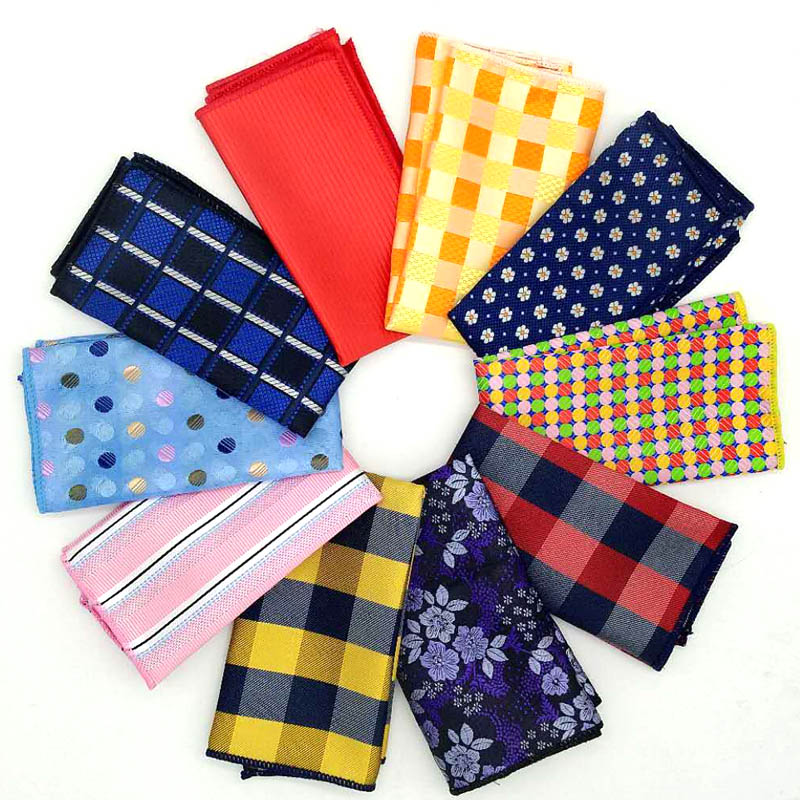 Luxury Men's Pocket Square Handkerchief Stripes Plaid Floral Hanky Men Suit Chest Towel Accessories For Business Wedding Party