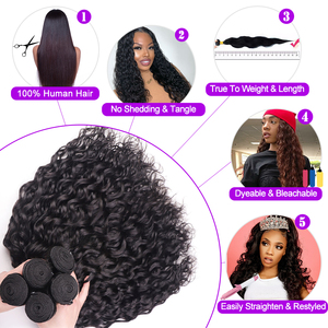 Image 5 - AngelGrace Hair Water Wave Bundles With Closure Remy Human Hair 3 Bundles With Closure Brazilian Hair Weave Bundles With Closure