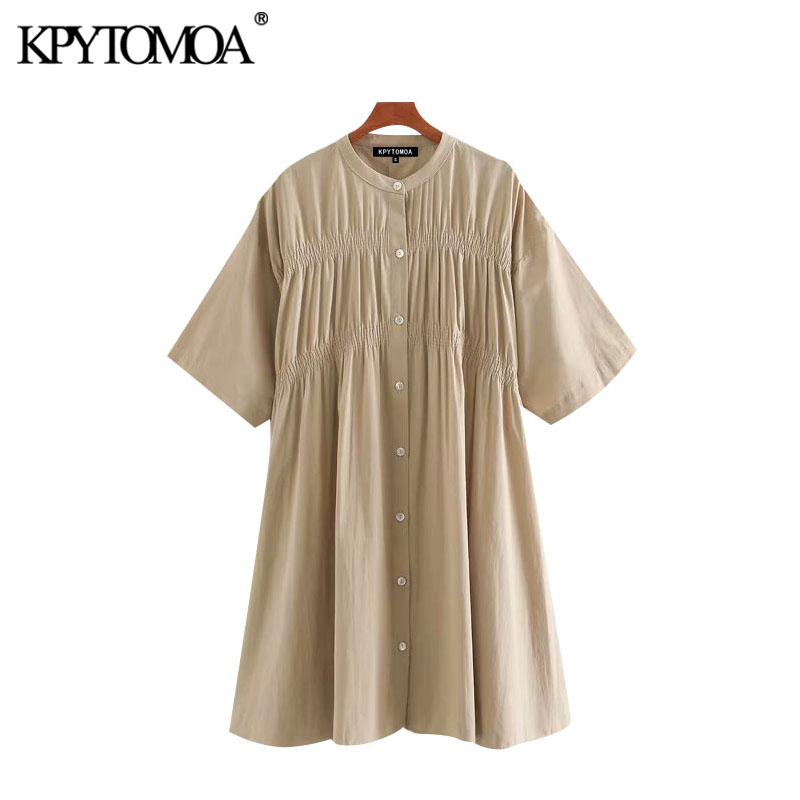 KPYTOMOA Women 2020 Chic Fashion Buttons Pleated Mini Dress Vintage O Neck Short Sleeve Female Dresses Vestidos Mujer