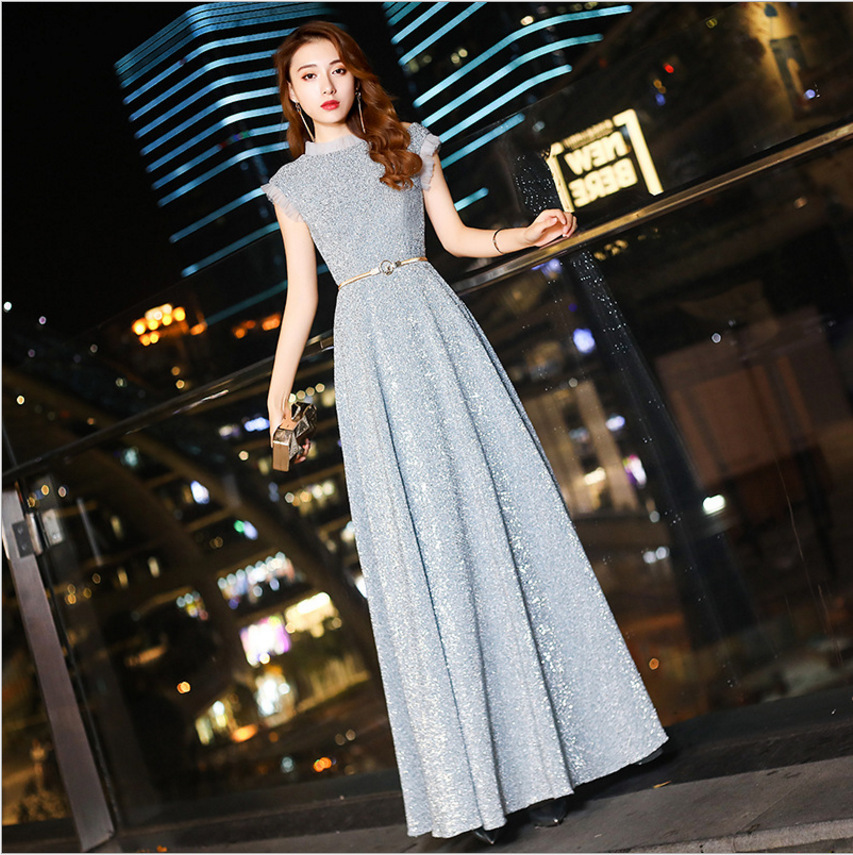 Silver Luxury Sequins Young Lady Pleated Dress Round Neck With Lace Evening Party Gown Sexy Novelty Vestidos Prom Dresses