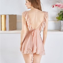 Woman Sexy Nightdress Lady See-Through Lace Sleepwear Summer Hollow Out Mesh Nightgown Backless Pajamas