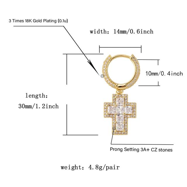 TOPGRILLZ Iced Out Baguette Zircon Cross Drop Dangle Huggie Hinged  Stud Earring Hip Hop Rock Jewelry For Men Women