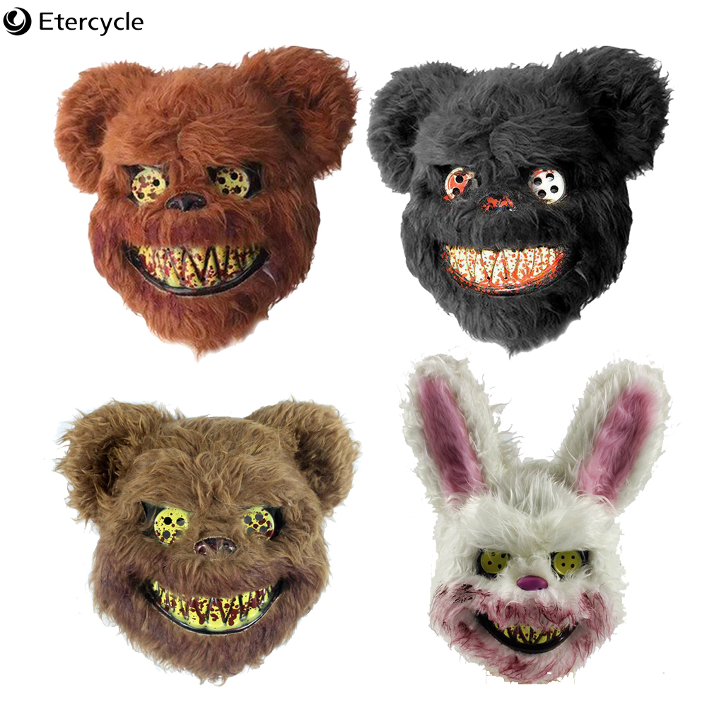Scary Animal Halloween Masks.Halloween Horror Animal Mask Rabbit Teddy Plush Toys Cosplay Masquerade Adult Party Scary Mask Halloween Party Performance Props Buy At The Price Of 4 32 In Aliexpress Com Imall Com