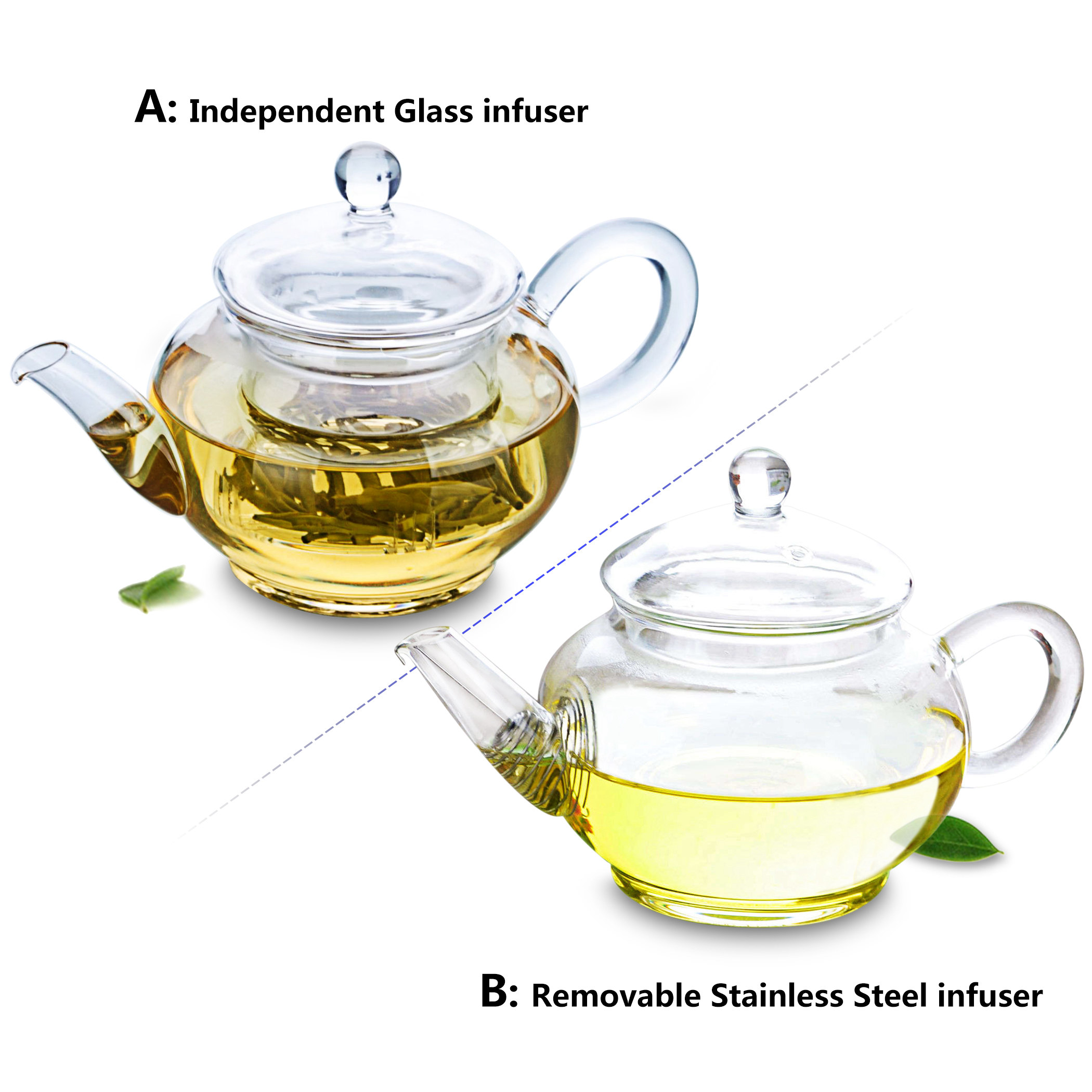 Kinds Handmade Heat Resistant Clear Glass Mini Flower Teapot W/ Infuser A/B