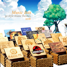 Music-Box Jurassic Park Hand-Crank Wooden Birthday-Present Christmas-Gift Sunshine Children