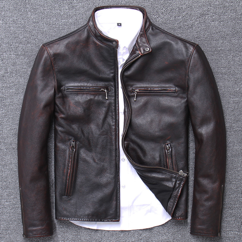 Do Used Head Layer Really Cowhide Stand Lead Jacket Short Fund Self-cultivation Handsome Loose Coat Genuine Leather