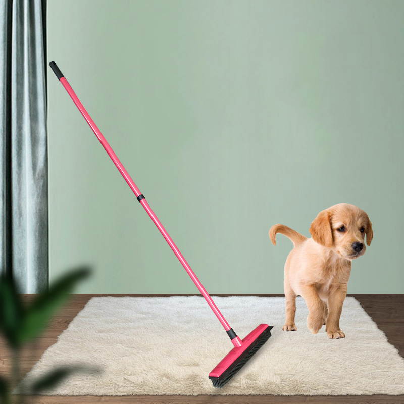 Pet Carpet Hair Removal Broom Scraper Dust Free Hand Wash Mop Rubber Floor Brush