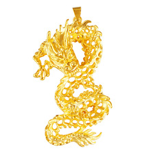 24K Gold Chinese Dragon 3D Hard Gold Pendant for Women Men Charm Pendant Choker Necklaces for Women 2020 Collier Dubai Jewelry real 24k yellow gold pendant women 999 gold 3d heart pendant