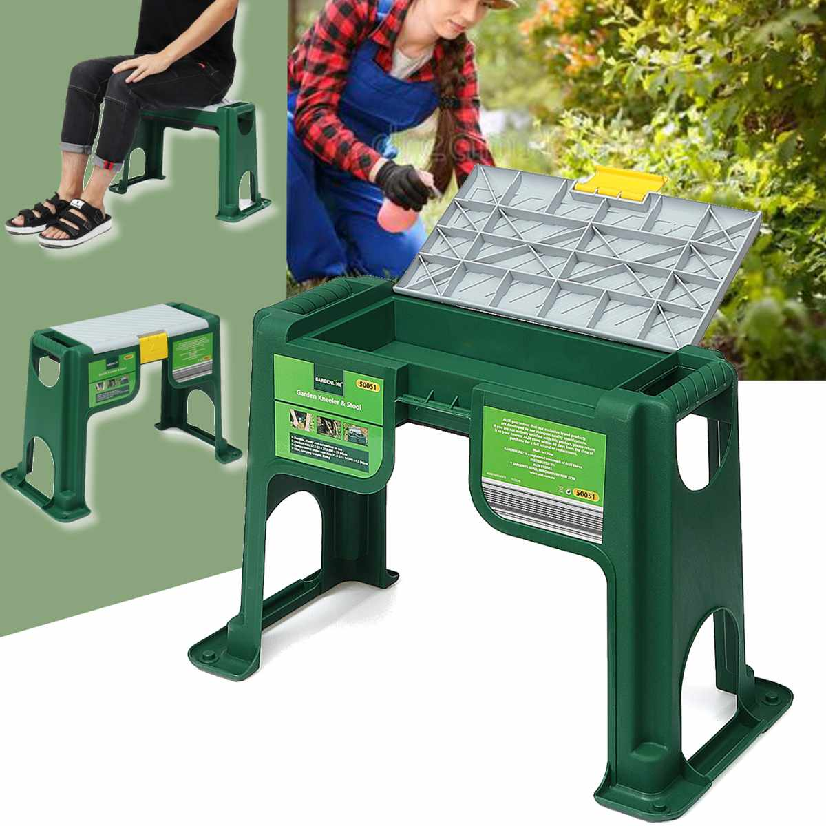 Garden Kneeler And Seat With Storage Bin Stable Plastic Lightweight Garden Chairs Thicken Step Portable Garden Stools Green Grey