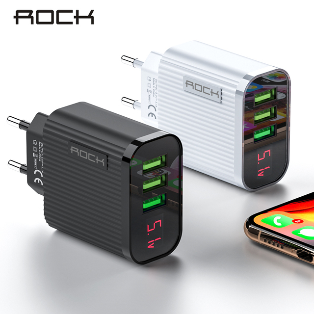 ROCK Digital Display Phone Charger 3 Port USB 3A Max Smart Fast Charger Travel Wall Charger Adapter For iPhone Samsung Xiaomi 1
