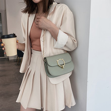 JIULIN Summer cat girl bag new 2019 summer small fresh slant chain bag single shoulder fashion solid color saddle bag