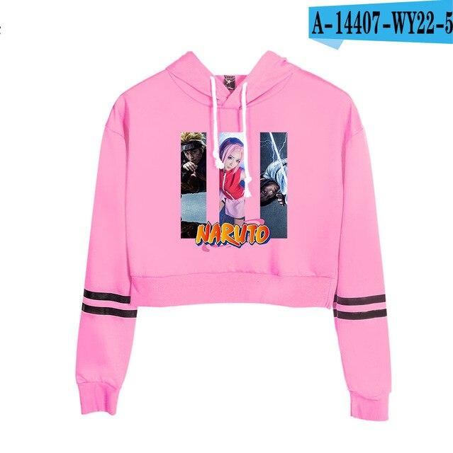 Now United Crop Top Hoodies Harajuku Japanese Anime Uzumaki Printed Hoodie Women Streetwear Fashion Cropped Sweatshirt Coat 24