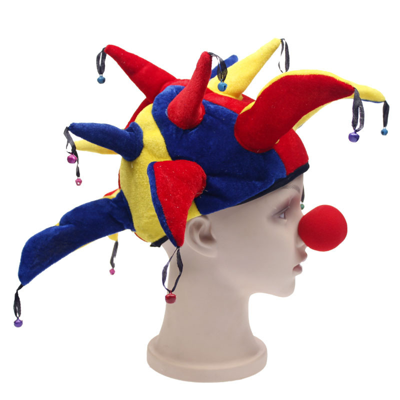 Multicolor Halloween Party Clown Hat With Bells Clown Unisex Cosplay Cap Jester Hat Nose Funny Costume Ball Game