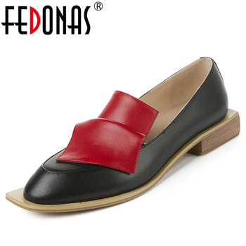 FEDONAS Brand Design Pumps Women Spring Autumn Genuine Leather Casual Basic Party Shoes Woman Strange Square Toe Shallow Pumps