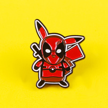 Cartoon Pikachu Brooch Red Warrior and Enamel Pin Cute Pokemon Lapel Pin Badge for Backpack Bags  Jacket Shirt Jewelry Gifts red coat brooch pill drug capsule pattern red movie ticket enamel pin backpack clothing denim badge cool hand hug heart brooch